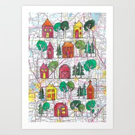 Central WI Neighborhood and Farm Continuous Line Drawing on vintage map Art Print