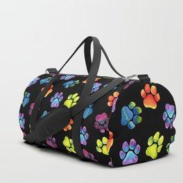 Black Rainbow Paw Print Pattern Duffle Bag