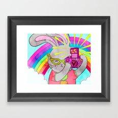 Bunny Rainbow Snapshots Framed Art Print