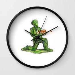 Nostalgic Green Army Man Toy with Super Soaker Gun  Wall Clock