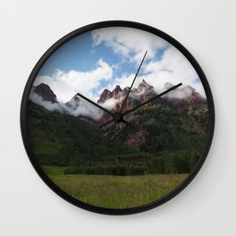 Mountains in Fog Wall Clock