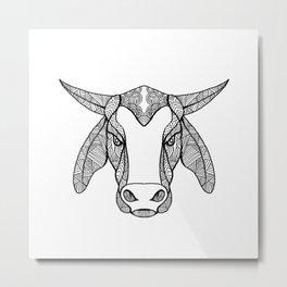 Brahma Bull Head Mandala Metal Print