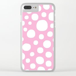 Pink Negative Dots w/ White Background Clear iPhone Case