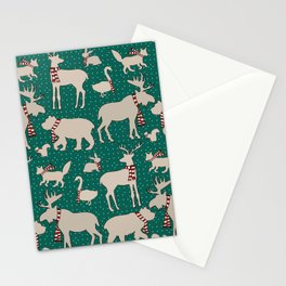 Woodland Animals in Scarves Stationery Cards