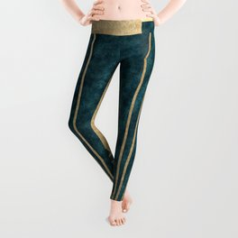 Art Deco glamour - teal and gold Leggings