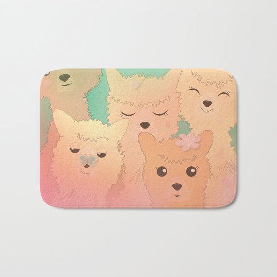 Alpaca Family II - Mint Green Spring Cherry Blossom Background Bath Mat