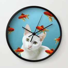 white lovely cat with goldfishes #cats Wall Clock