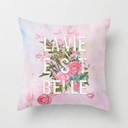 LAVIE EST BELLE - Watercolor -Pink Flowers Roses - Rose Flower Throw Pillow
