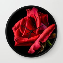 Red Rose Bloom Wall Clock