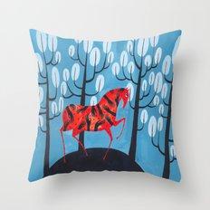 Smug red horse Throw Pillow