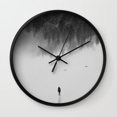 Silent Walk - B&W version Wall Clock
