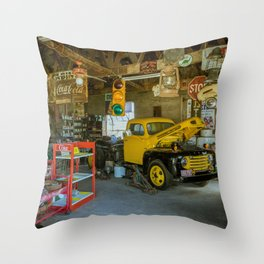 Tow Truck Garage at Restored Service Station on Route 66 in Missouri Throw Pillow