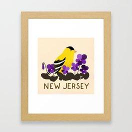 New Jersey State Bird and Flower Framed Art Print