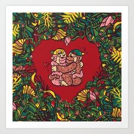 Monkey's love Art Print