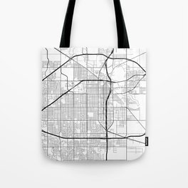 Lubbock Map, USA - Black and White Tote Bag