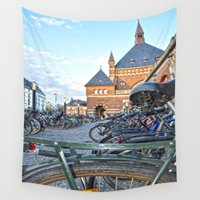 bicycles Wall Tapestries featuring bicycles by  Agostino Lo Coco