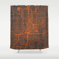 atlanta Shower Curtains featuring Atlanta map by Map Map Maps