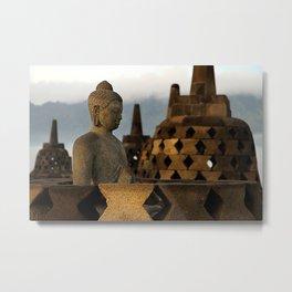 Buddha & Stupa Metal Print