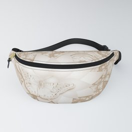 Butterfly on mandala in iced coffee tones Fanny Pack