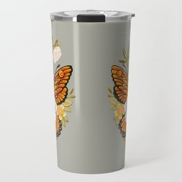 Butterfly Peonies Tattoo Travel Mug
