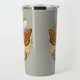 Butterfly Peonies Tattoo Travel Mug