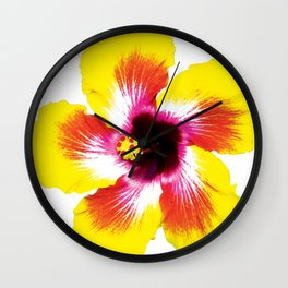 Hibiscus in Yellow Wall Clock
