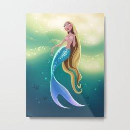 Curious Mermaid Metal Print