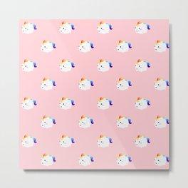 Kawaii rainbow fattycorn pattern Metal Print