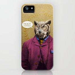 "Mr. Owl says: ""HOOT Happens!"" iPhone Case"