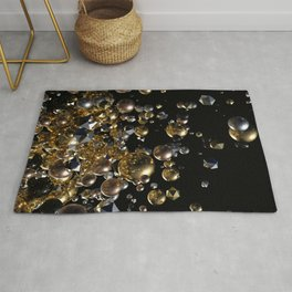 Elegant Abstract Geometry Explosion -Gold and Silver,Black- Rug