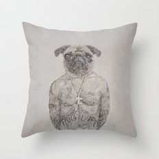 2 pug Throw Pillow