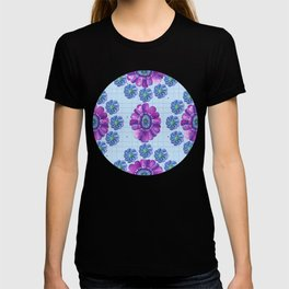 Flower Pattern in Purple and Blue T-shirt