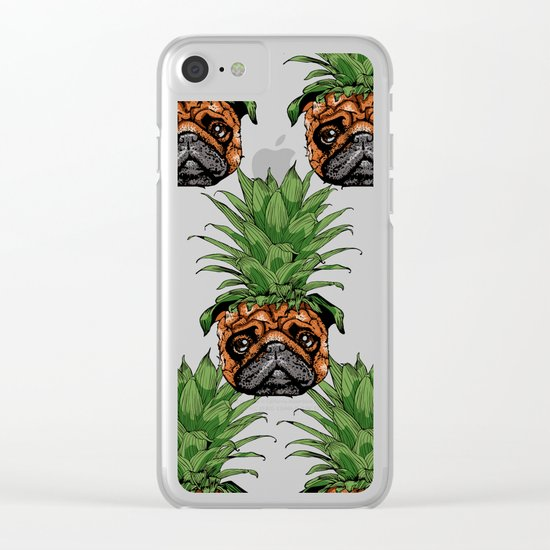 Pineapple Pug Clear iPhone Case