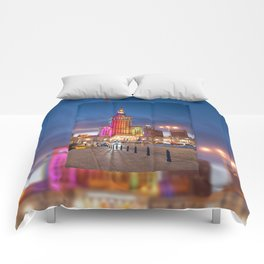 Rainbow colors at building Comforters