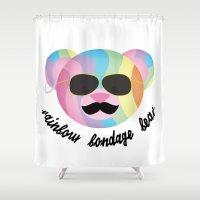 bondage Shower Curtains featuring Punk Rainbow Bondage Bear 2.0 by YOSH FRIDAY