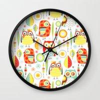 mod Wall Clocks featuring Mod Owls by Jeannine Feierbach Designs