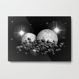 Space travelers #3 - Black/White Watercolor Metal Print