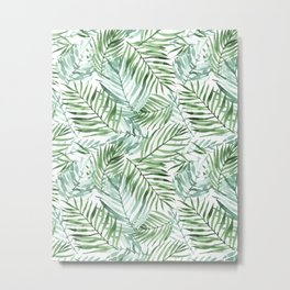 Watercolor palm leaves pattern Metal Print