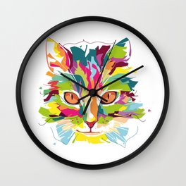 Cat Colorful Variation Wall Clock