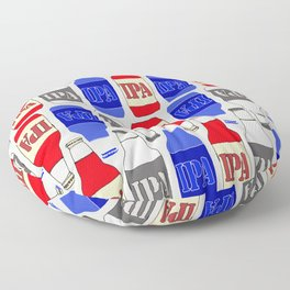 red white and blue IPA beer pattern Floor Pillow