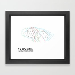 Elk Mountain, PA - Minimalist Winter Trail Art Framed Art Print