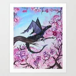 Baby Black Dragon in Cherry Tree Art Print