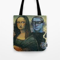 pablo picasso Tote Bags featuring Mona Lisa & Pablo Picasso by RSAR