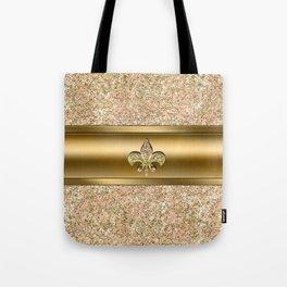 Pink & Gold Glitter Fleur De Lis Tote Bag