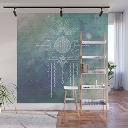 Mandala Flower of Life in Turquoise Stars Wall Mural