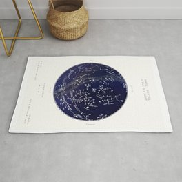 French August Star Map in Deep Navy & Black, Astronomy, Constellation, Celestial Rug