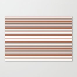 Sherwin Williams Cavern Clay SW7701 Tri-color Thick and Thin Horizontal Lines Bold Stripes Canvas Print
