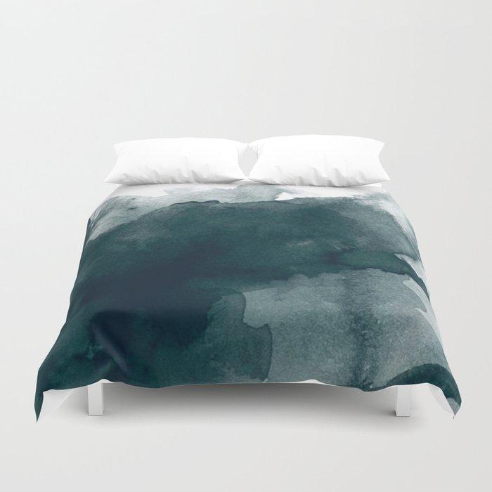 Dark Green Watercolor Marble Duvet Cover