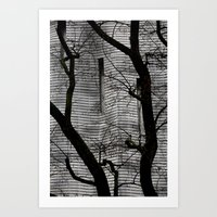 Rain in town Art Print