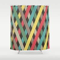 striped Shower Curtains featuring Striped by General Design Studio